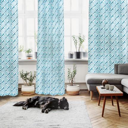 Κουρτίνα Με Τρουκς 140x280 Das Home Curtain 2133 Εκρου-Πετρολ