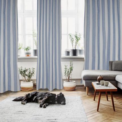 Κουρτίνα Με Τρουκς 140x280 Das Home Curtain 2154 Λευκο-Μπλε