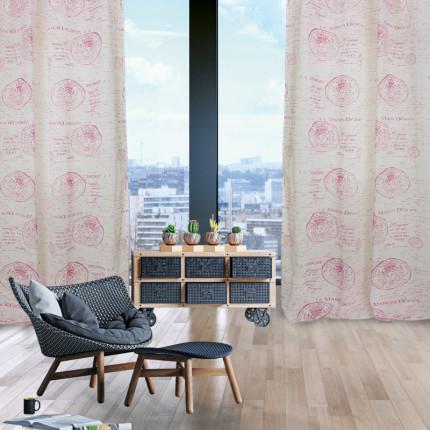 Κουρτίνα Με Τρουκς 290x280 Das Home Curtain 2031 Ιβουαρ-Ροζ