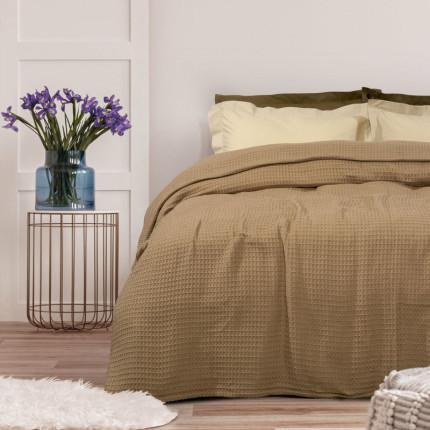 Κουβέρτα Πικέ Μονή 170X250 Das Home Blankets Summer 0435 Μπεζ