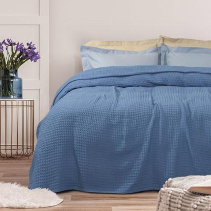 Κουβέρτα Πικέ Μονή 170X250 Das Home Blankets Summer 0437 Σιελ