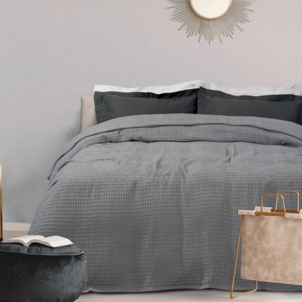 Κουβέρτα Πικέ Μονή 170X250 Das Home Blankets Summer 0438 Γκρι Ανοιχτό