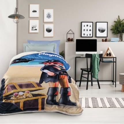 Κουβέρτα Fleece Μονή 160x220 Das Home Cartoon 5022 Γαλαζιο-Μπεζ
