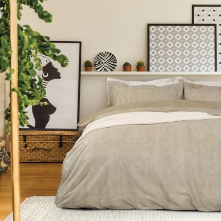 Σεντόνια Υπέρδιπλα (Σετ) 230X260 Das Home Best 4710 Μπεζ-Λευκό Χωρίς Λάστιχο