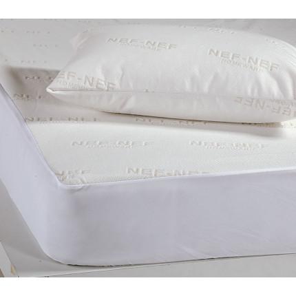 Αδιάβροχο Επίστρωμα King Size 180x200+30 Nef Nef White Linen Ζακαρ/Pu Λευκό