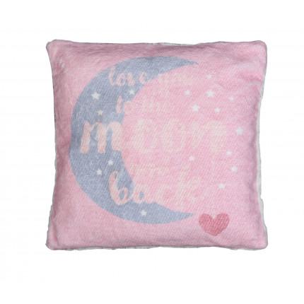 Διακοσμητικό Μαξιλάρι 40x40 Nef Nef Fleece Moon And Back Ροζ