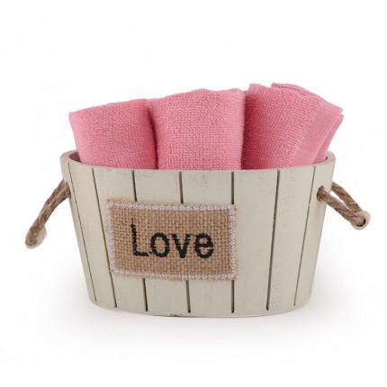 Καλαθακι Σετ 5 Τμχ Λαβέτες 30x30 Nef Nef Love 1115-Coral
