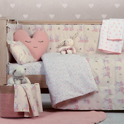 Σεντόνια Κούνιας (Σετ) 120x170 Nef Nef Bunny Ladies Pink