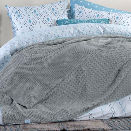 Κουβέρτα Πικέ Υπέρδιπλη 230x240 Nef Nef Blue Ocean Grey