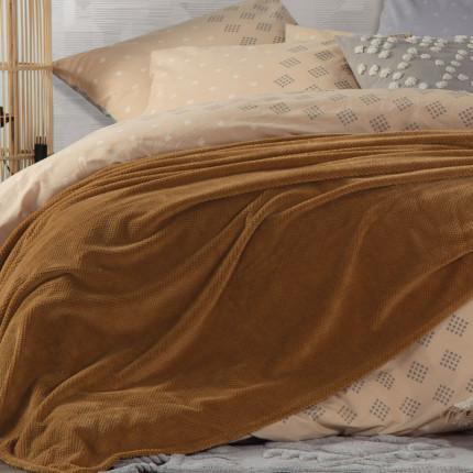 Κουβέρτα Fleece Υπέρδιπλη 240x220 Nef Nef Record Moustard