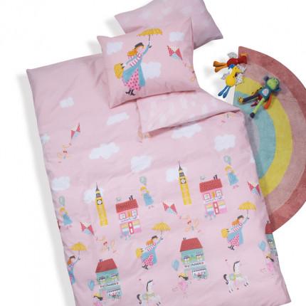Σεντόνια Μονά (Σετ) 160x260 Nef Nef Mary Poppins Pink Χωρίς Λάστιχο