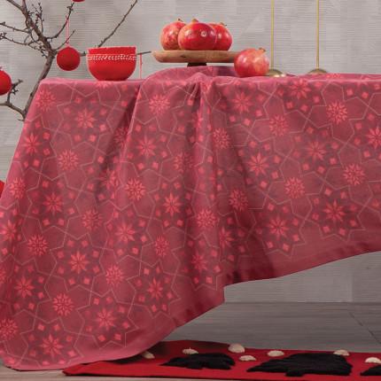 Χριστουγεννιάτικο Τραπεζομάντηλο 140x180 Nef Nef Half Panama Christmas Spirit Red