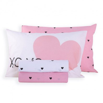 Σεντόνια Μονά (Σετ) 160x260 Nef Nef Happy Place White/Pink Χωρίς Λάστιχο