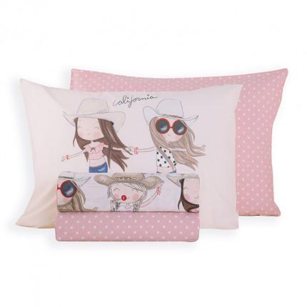 Σεντόνια Μονά (Σετ) 160x260 Nef Nef California Girls Pink Χωρίς Λάστιχο