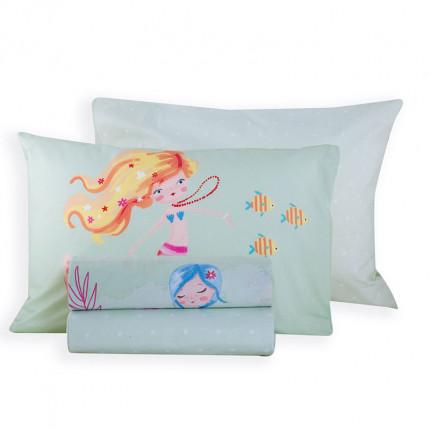 Σεντόνια Μονά (Σετ) 160x260 Nef Nef Mermaids Day Aqua Χωρίς Λάστιχο