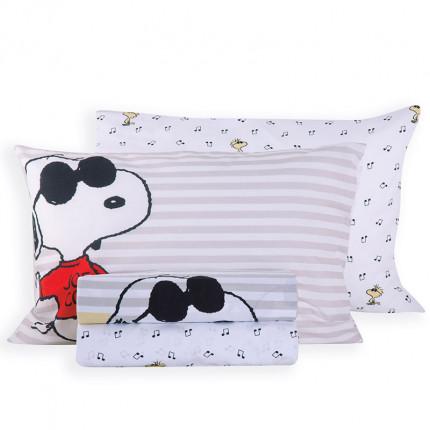 Σεντόνια Μονά (Σετ) 160x260 Nef Nef Snoopy Rockstar White Χωρίς Λάστιχο