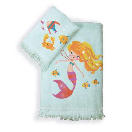 Παιδικές Πετσέτες (Σετ 2 Τμχ) Nef Nef Mermaids Day Aqua
