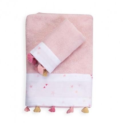 Βρεφικές Πετσέτες (Σετ 2 Τμχ) Nef Nef Trip To The World White/Pink