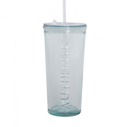 Ποτήρι Γυάλινο Με Καπάκι & Καλαμάκι 500Cc Nef Nef Authentic Natural
