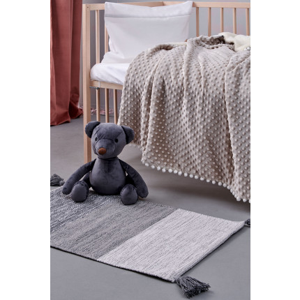 Κουβέρτα Fleece Κούνιας Με Γουνάκι 110X140 Palamaiki Desire Blanket Desire Grey
