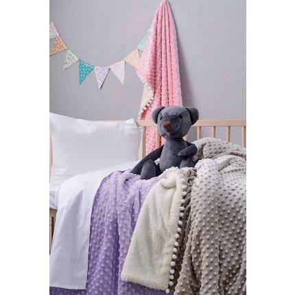 Κουβέρτα Fleece Κούνιας Με Γουνάκι 110X140 Palamaiki Desire Blanket Desire Lilac