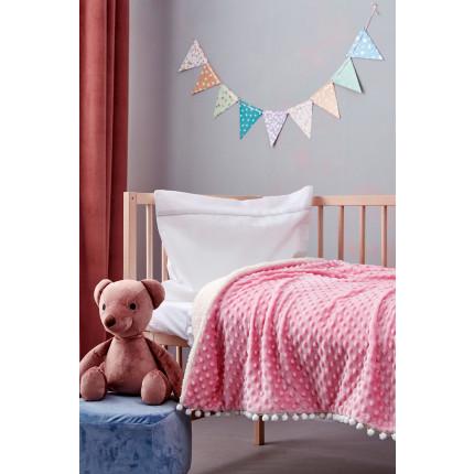 Κουβέρτα Fleece Κούνιας Με Γουνάκι 110X140 Palamaiki Desire Blanket Desire Pink