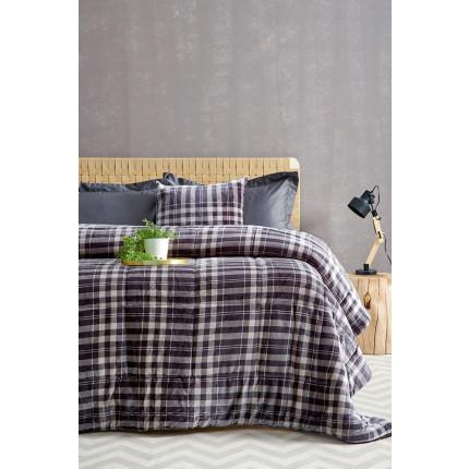 Κουβερτοπάπλωμα Υπέρδιπλο 220X240 Palamaiki Check Blanket Check Grey