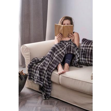 Κουβέρτα Καναπέ 120X150 Palamaiki Check Blanket Check Grey