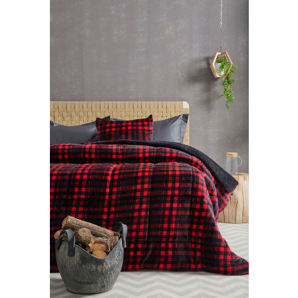 Κουβερτοπάπλωμα Μονό 160X220 Palamaiki Check Blanket Check Red