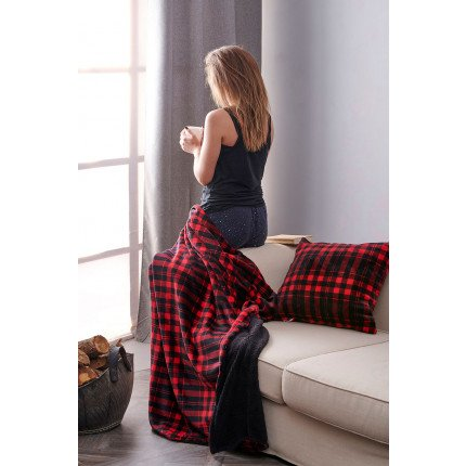Κουβέρτα Καναπέ 120X150 Palamaiki Check Blanket Check Red