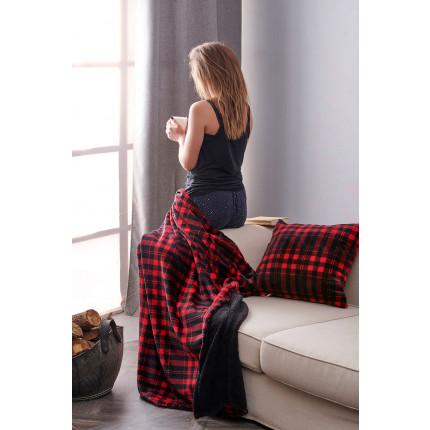 Διακοσμητική Μαξιλαροθήκη 50X50 Palamaiki Check Blanket Check Red