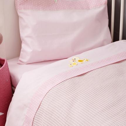 Σεντόνια Κούνιας (Σετ) 70X140+15 Palamaiki Baby Joia Bj522 Pink Με Λάστιχο