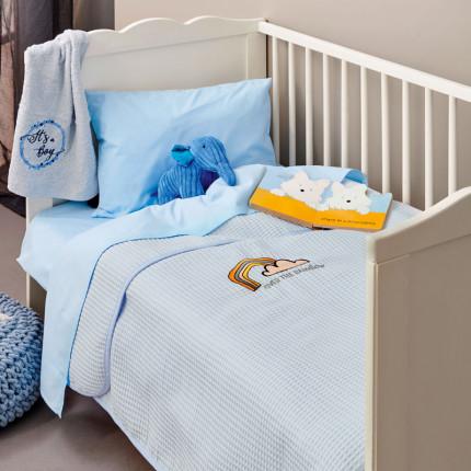 Κουβέρτα Πικέ Κούνιας 110X150 Palamaiki Baby Collection Pikelino Ciel
