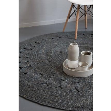 Στρογγυλό Χαλί R150 Nima - Makrame Dark Gray
