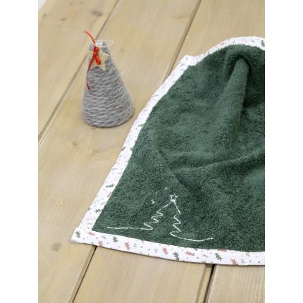 Χριστουγεννιάτικη Πετσέτα Κουζίνας 45x45 Nima Pinecone Green
