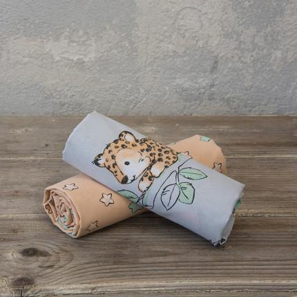 Σεντόνια Λίκνου (Σετ) 70x110 Nima Sleepy Panther Χωρίς Λάστιχο