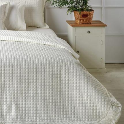Νυφικό Κουβερλί (Σετ) Υπέρδιπλο 230X250 Kentia Serenity Bernadine 12 Λευκό