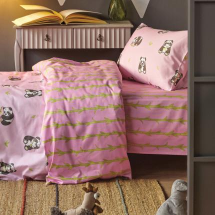 Σεντόνια Μονά (Σετ) 160X255 Kentia Versus Panda Ροζ Χωρίς Λάστιχο