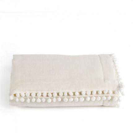 Κουβερτόριο Αγκαλιάς 70X100 Kentia Stylish Pon-Pon 12 Λευκό