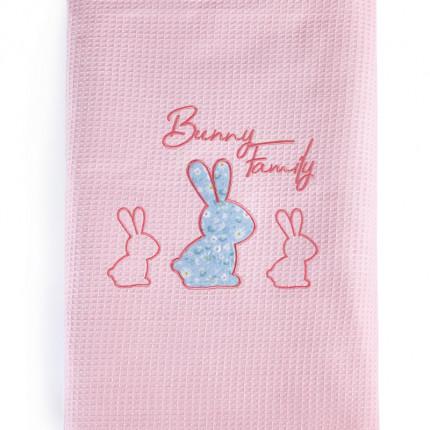 Κουβέρτα Πικέ Κούνιας 100X140 Kentia Stylish Bunnito Ροζ