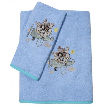 Βρεφικές Πετσέτες (Σετ 2 Τμχ) Das Home Smile Embroidery 6579 Σιελ