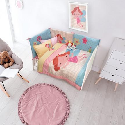 Σεντόνια Κούνιας (Σετ) 120x160 Das Home Smile Embroidery 6558 Ροζ-Σομον Χωρίς Λάστιχο