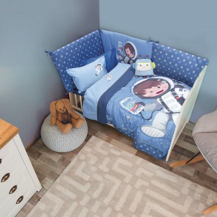 Σεντόνια Κούνιας (Σετ) 120x160 Das Home Smile Embroidery 6560 Γαλαζιο-Μπλε Χωρίς Λάστιχο
