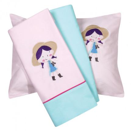 Σεντόνια Κούνιας (Σετ) 120X160 Das Home Smile Embroidery 6580 Γαλάζιο Χωρίς Λάστιχο