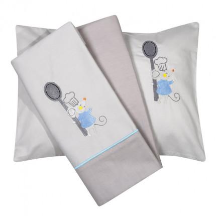 Σεντόνια Κούνιας (Σετ) 120X160 Das Home Smile Embroidery 6581 Γαλάζιο Χωρίς Λάστιχο