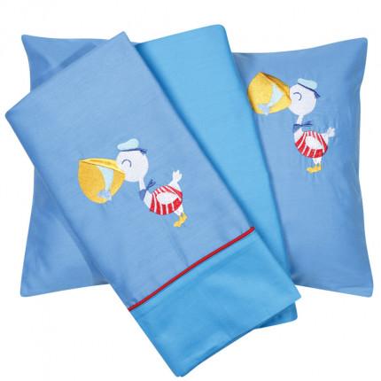 Σεντόνια Κούνιας (Σετ) 120X160 Das Home Smile Embroidery 6582 Γαλάζιο Χωρίς Λάστιχο