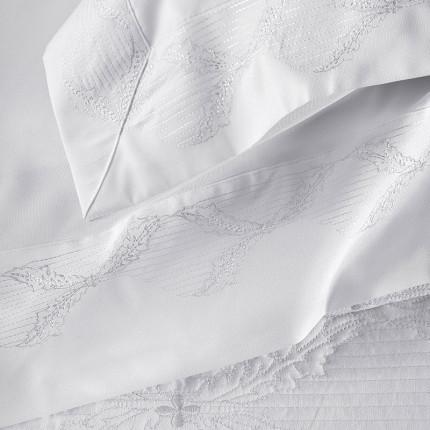 Κουβερλί Υπέρδιπλο (Σετ 7 Τμχ) Rythmos Mila Λευκο Χωρίς Λάστιχο