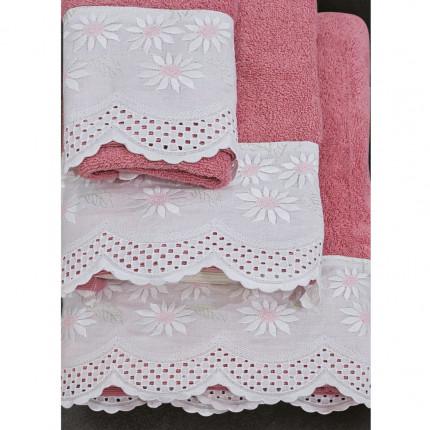 Πετσέτες Μπάνιου (Σετ 3 Τμχ) Sb Home Daisy Coral