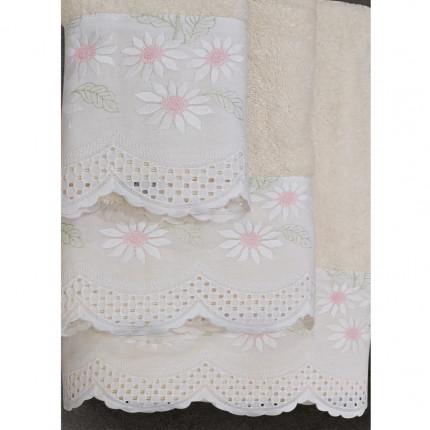 Πετσέτες Μπάνιου (Σετ 3 Τμχ) Sb Home Daisy Cream
