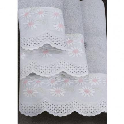 Πετσέτες Μπάνιου (Σετ 3 Τμχ) Sb Home Daisy Silver